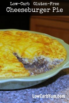 This simple cheeseburger pie recipe has been made low carb and gluten free by using a coconut flour mixture instead of regular flour. LCHF Keto Recipe