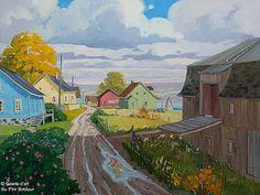 """* Artistes variés - """" Sur l'Ile Verte - Louise Martineau """" Art Gallery, Garden Painting, Canadian Art, City Art, Impressionist, Landscape Paintings, Folk Art, Country Roads, Watercolor"""