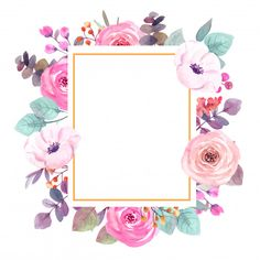 Watercolor flowers frame greeting card P. Flower Background Wallpaper, Flower Backgrounds, Fabric Wall Art, Floral Border, Floral Illustrations, Flower Frame, Watercolor Flowers, Wall Murals, Canvas Wall Art