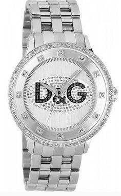 Montre DOLCE & GABBANA femme, bracelet acier argenté, boîtier avec pierres Swarovski et logo D noir.