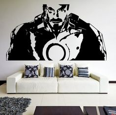 Vinyl Wall Decal Tony Stark from Movie Iron Man/ Robot Suit Art Decor Removable Sticker / Home DIY Mural + Free Random Decal Gift