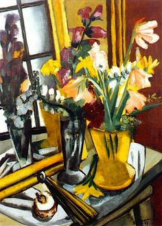Max Beckman--Floral still life with mirror, 1927