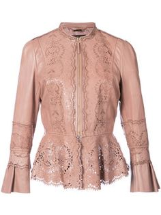 Roberto Cavalli Floral-print Leather Jacket In Pink Designer Leather Jackets, Leather Jackets Online, Look Fashion, Fashion Outfits, Womens Fashion, Fashion Design, Roberto Cavalli, Peplum Leather Jacket, Coats For Women