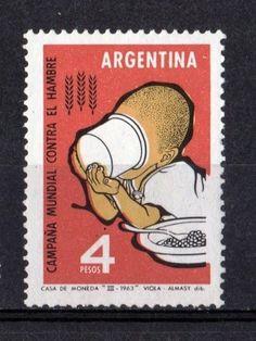 """Argentina """"Campana Mundial Contra El Hambre"""", 4 pesos.  Dib. Viola-Almary. Casa de la Moneda, 1963.   (lbk)"""