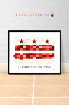 washington dc print poster wall art flag state flags district of columbia printable download home decor