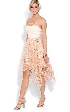Deb Shops Strapless Dress with Open Knot Back and Floral Hanky Hem $35.00