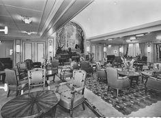The First Class Salon (Drawing Room-Lounge) of the steamship Antilles of Compagnie Générale Transatlantique, more commonly known as The French Line. 1953. Image courtesy the private collection of John Cunard-Shutter.