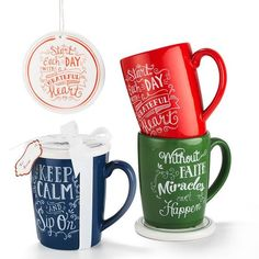 """Need a little pep talk with your hot beverage?  Invest in these multitasking mugs:  The lid is a drink warmer, coaster and even a tree ornament. Your """"me"""" moment gets lovelier with bright and inspirational mugs.FEATURES• Dishwasher safe• Set includes mug (12 oz.) and coaster (3"""" dia)• Mugs are microwaveable • Available in Blue (Keep Calm and Sip On), Green (Without Faith Miracles Can't Happen), and Red .... AvonRep shirlean walker  #dishes #cups #decor"""