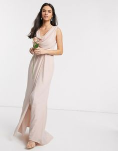 Find the best selection of ASOS DESIGN Bridesmaid short sleeved cowl front maxi dress with button back detail. Shop today with free delivery and returns (Ts&Cs apply) with ASOS! Asos Bridesmaid Dress, Mismatched Bridesmaid Dresses, Lace Bridesmaids, Bride Dresses, Corsage, Design Rosa, Asos Curve, Maxi Gowns, Maxi Dress With Sleeves