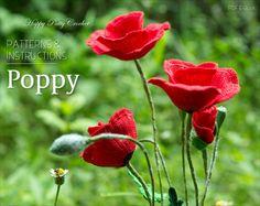 Crochet Poppy Pattern - Crochet Flower Pattern - Field Poppy Flower Pattern - Flanders Poppy Crochet Pattern