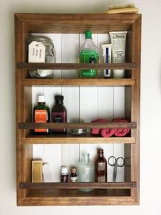 The Mansfield Spice Rack No. 101 - Wall Mount or Countertop Spice Rack Bathroom Wall Cabinets, Bathroom Wall Decor, Wood Cabinets, Bathroom Storage, Small Bathroom, Pallet Bathroom, Bathroom Ideas, Kitchen Cabinets, Kitchen Shelves