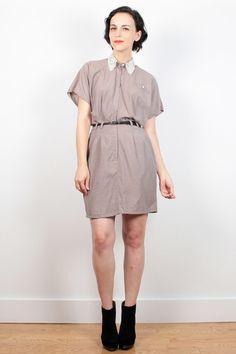 Vintage 80s Dress Tan Mini Dress 1980s Dress Cream Ivory Lace Collar Shirt Dress Secretary Dress Shirtdress Hipster Uniform Dress M Medium by ShopTwitchVintage #1980s #80s #lace #shirt #dress #shirtdress #secretary #mini #etsy #vintage