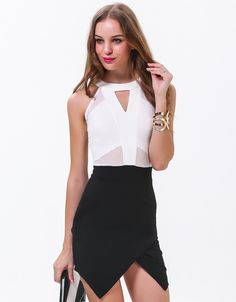 #SALE White Sleeveless Hollow Slim Bodycon Dress Shop the #SALE at #Sheinside