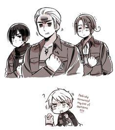 Shingeki no Hetare by ROSEL-D.deviantart.com on @deviantART I love Hetalia ^-^ poor Gilbert, not even his own little brother would return his calls...