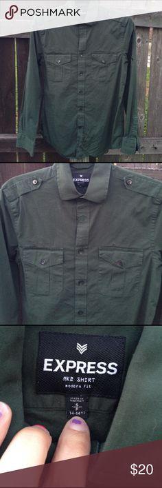 Hunter green collared longsleeve men's shirt Hunter green longsleeved colors men express shirt Express Shirts Dress Shirts