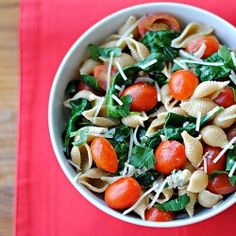 This delicious Spinach-Tomato Pasta is made with whole wheat pasta and is high in fiber