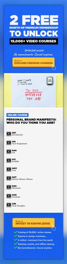Personal Brand Manifesto: Who Do You Think You Are? Design, Drawing, Creativity & Innovation, Creative, Personal Branding, Self-Discovery #onlinecourses #onlineeducationquotes #hardskills   Join designer and author Adam J. Kurtz for 5 quick exercises you can do TODAY to get clarity, focus, and renewed direction for your yourself & your creative career.  Sometimes you have all the techniques, a...
