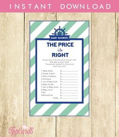 Nautical Baby Shower Price is Right Game in Navy and Aqua Printable Instant Download Anchor Price is Right Nautical Girl and Boy 0001A-T by TppCardS #tppcards #printable #invitations