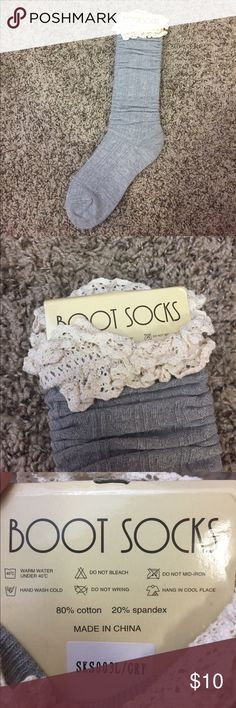 NWT Gray Frilly Boot Socks Brand new!! 80% cotton and 20% spandex Other