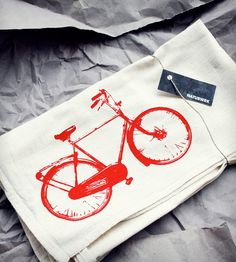 Red Bike Flour Sack Tea Towel By Naturwrk. An organic cotton flour sack tea towel made with eco-friendly ink.