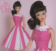 Peppermint Candy- Vintage Barbie Doll Dress Reproduction Repro Barbie Clothes
