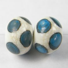 Lampwork Beads Handmade Ivory Glass With Turquoise Dots | Covergirlbeads - Jewelry on ArtFire