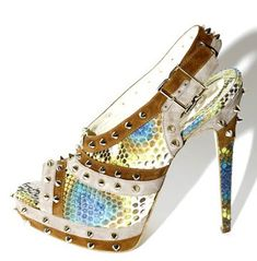 Brian Atwood studded python & suede slingback Sandals Fall 2011 #shoes #heels
