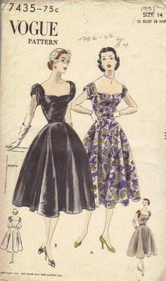 1950s Movie Star Dress Vogue Sewing Pattern by AdeleBeeAnnPatterns, $28.00