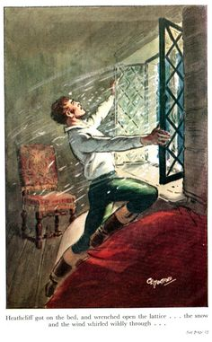 WH Frontispiece = Heathcliff got on the bed and wrenched open the lattice. the snow and the wind whirled wildly through. Fanart, Emily Brontë, Wuthering Heights, Victorian Art, Classic Literature, Seascape Paintings, Pictures To Paint, Cute Wallpapers, Book Art