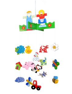 Goldfish Gifts wooden Farm Mobile has all the farm animals. including sheep,cow, duck, chicken, pig, cat and dog as well as the farmer and his wife, a total 5 pieces packed in their own pretty tulle bag! Perfect mobile for the baby nursery. Designed  by Goldfishgifts Australia and handmade ethically in Indonesia. ITSA award winner. Size : hangs down aprox 45cm Child Smile, Make Happy, Award Winner, Goldfish, Farm Animals, Your Child, Farmer, Gifts For Kids, Sheep