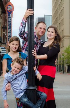 family pose street pole fun downtown city photography Richard's Pictures Richard Latham