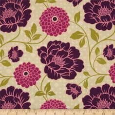 Designed by Joel Dewberry for Free Spirit, this cotton print is perfect for quilting, apparel and home decor accents.  Colors include purple, shades of pink and shades of green.