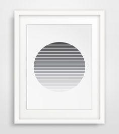 Sun Print Geometric Art Black and White Art by MelindaWoodDesigns #modernart #minimalistdecor