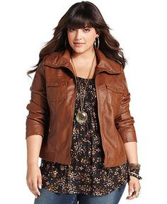 American Rag Plus Size Jacket, Faux Leather Bomber - Jackets & Blazers - Macy's Fall Outfits, Cute Outfits, Fashion Outfits, Womens Fashion, Fashion Trends, 50 Fashion, Fashion Styles, Fall Fashion, Look Plus Size