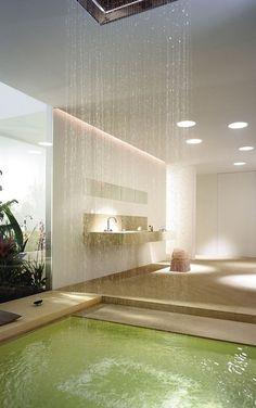 Bathroom: Luxurious Bathroom Interior, A Masterpiece from Award-Winning Dornbracht. Outstanding Bathroom Interior with Amazing Shower Design Interior Exterior, Interior Architecture, Interior Design, Interior Ideas, Spa Inspired Bathroom, Bathroom Decor Pictures, Douche Design, Piscina Interior, Waterfall Shower