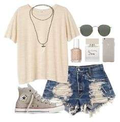 """""""neutral"""" by izzycirillo ❤ liked on Polyvore featuring Levi's, Monki, Bella Freud, Bettina Duncan, Converse, Ray-Ban, Essie, Case-Mate, women's clothing and women's fashion"""