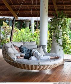 Heck yeah I need a huge cushioned swing/hammock for my back porch. [ Specialtydoors.com ] #backyard #hardware #slidingdoor