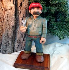 Mechanic hand carved wood OOAK caricature by WeAreOutofOurGourds, $90.00