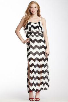 Ruffle Chevron Maxi Dress