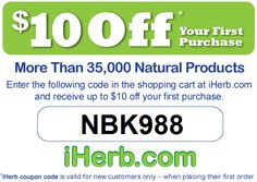 iherb coupon code, Enter iHerb coupon code NBK988 in the shopping cart (before check-out) for an instant $10 OFF your first purchase. FREE domestic shipping!!! LOW COST international shipping!!!