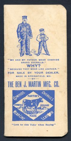 Union-Made: 1913-14 Cowhide Overalls Pocket Memo Book