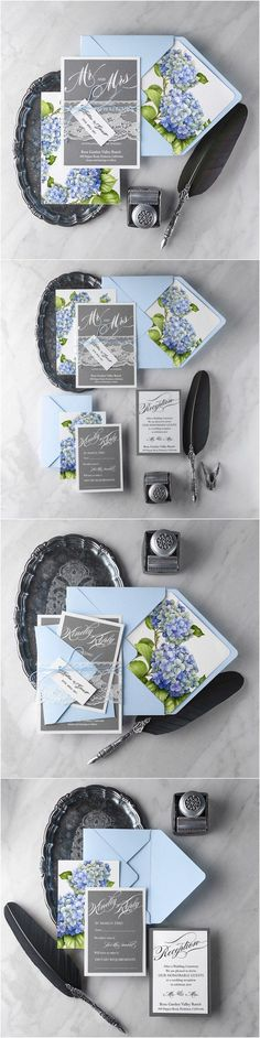 Rustic country grey and blue hydrangea wedding invitations #rusticwedding #countrywedding #weddingideas
