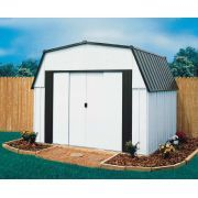 The Arrow Estator Steel Storage Shed has a very high interior height of inches. All of these steel storage sheds come with an attic shelf for added storage square footage Steel Storage Sheds, Storage Shed Kits, Steel Sheds, Backyard Storage Sheds, Metal Shed Kits, Duramax Sheds, Outdoor Office, Shed Plans, Dog Houses