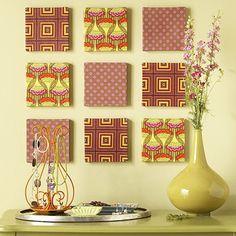 Good idea....Fabric Wall Art.
