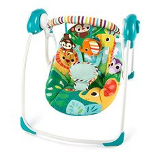 GPL/ Bright Starts Safari Surprise Portable Swing/ship from USA Best Double Pram, Double Prams, Automatic Baby Swing, Swings For Sale, Safari, Rock A Bye Baby, Baby Rocker, Baby Boy, Baby Bouncer