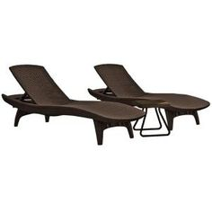 Keter, Pacific Brown All-Weather Adjustable Resin Patio Chaise Lounger with Side Table (2-Set), 222212 at The Home Depot - Mobile