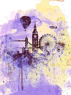 London Watercolor Skyline Print By Irina  March
