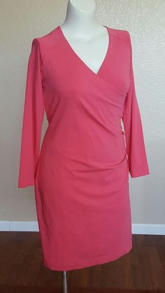 New Soft Surroundings Pink Surplice Faux Wrap Dress Stretch Jersey Casual PL   Clothing, Shoes & Accessories, Women's Clothing, Dresses   eBay!