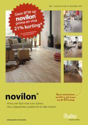 Tot en met 31 december 2013 betaalt u geen BTW op Novilon Viva & Prima, dat betekent dus 21% korting! De Prima is een fijne vloer voor starters en de Viva is uitgesproken, een praktisch en stille vloer. http://www.forbo-flooring.nl/Consumenten/Vloeren/Novilon/