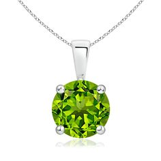 14 Girls Rhodium-Plated 14k White Gold Peridot Solitaire Birthstone Pendant Necklace